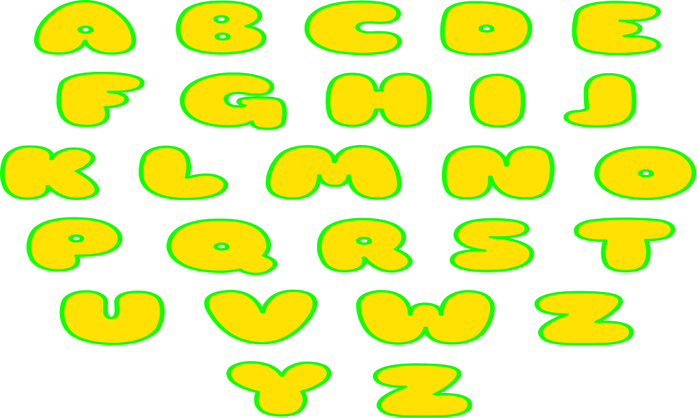 Upper case Bubble Letters
