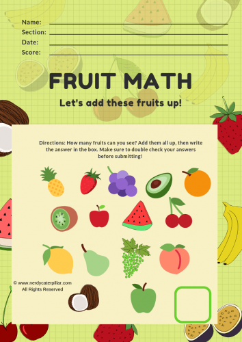 Simple Addition Worksheet For Preschoolers