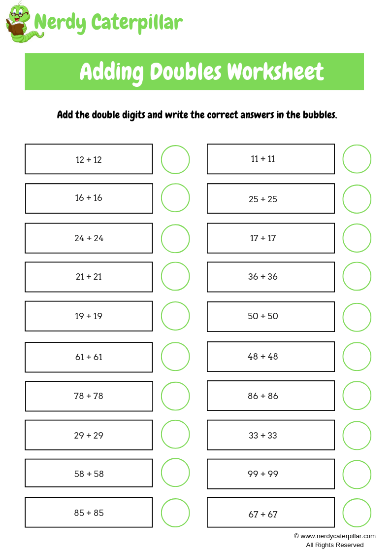 Adding Doubles Worksheet Double Digit