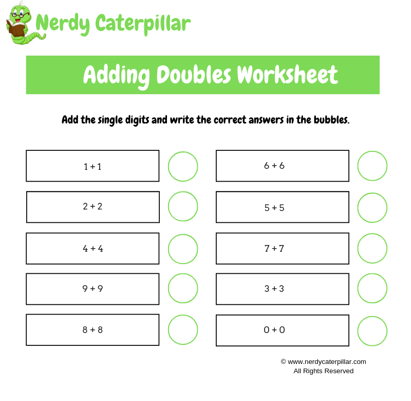 Adding Doubles Worksheet Single Digit