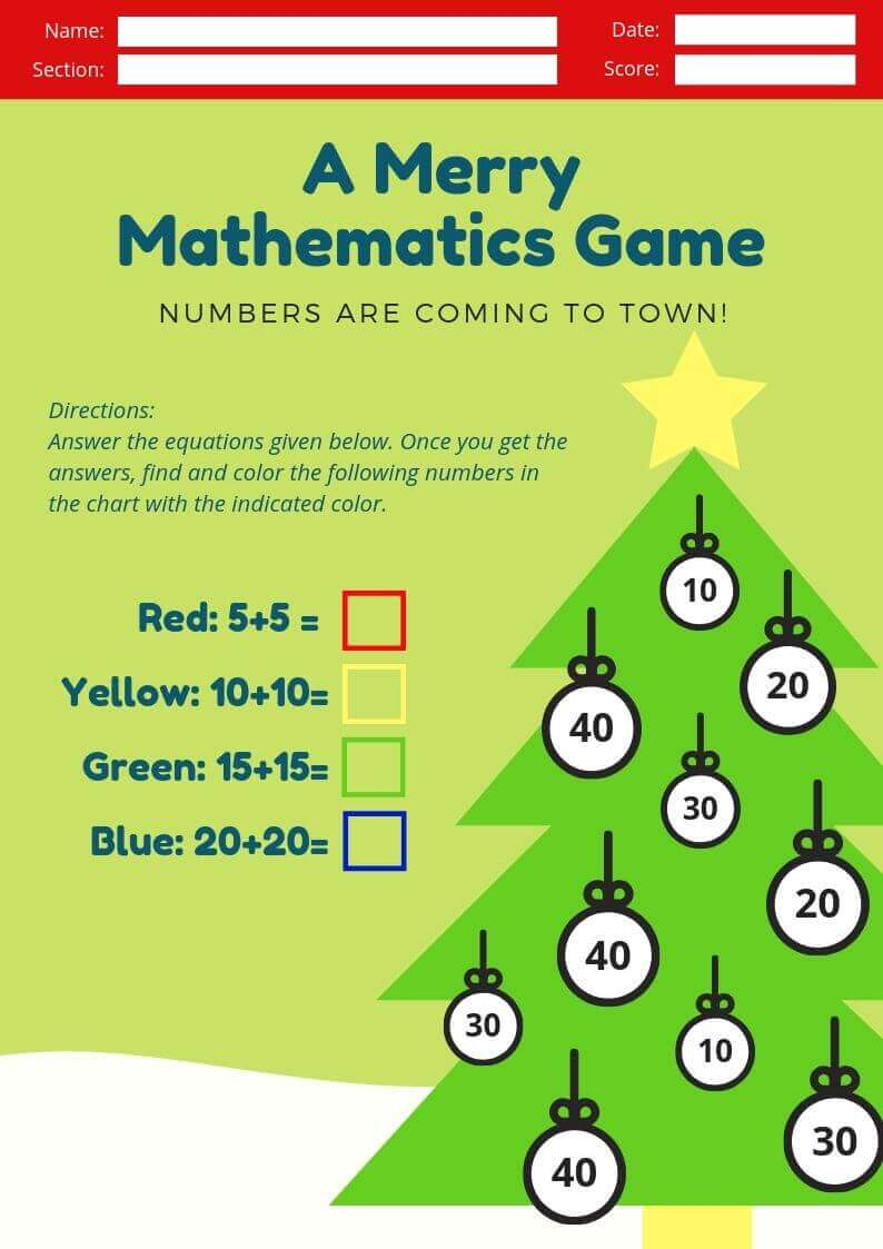 Christmas Kindergarten Math Worksheet
