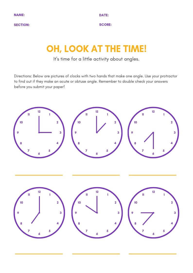 Clock Reading Worksheet For Children