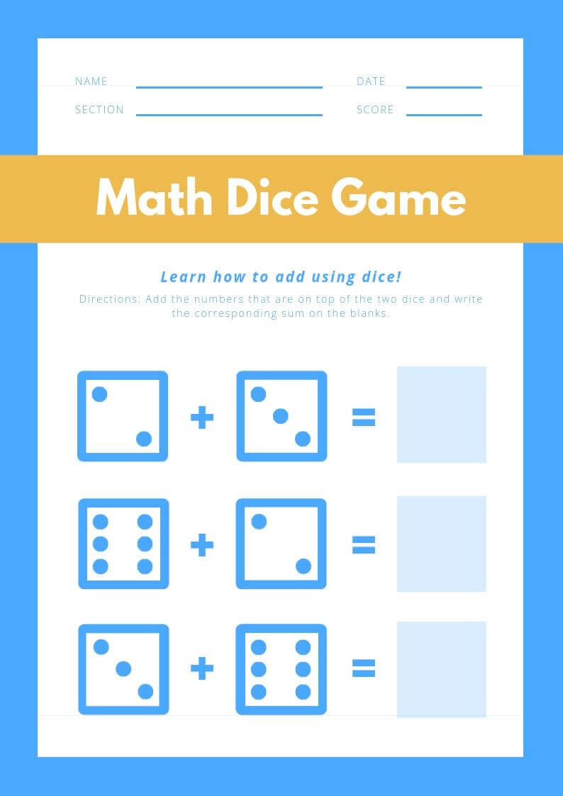 Free Printable Math Addition Worksheet For Kindergarten