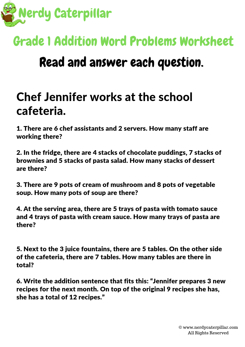 Grade 1 Addition Word Problems Worksheet