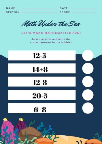 Math Worksheet For Kindergarten Addition And Subtraction