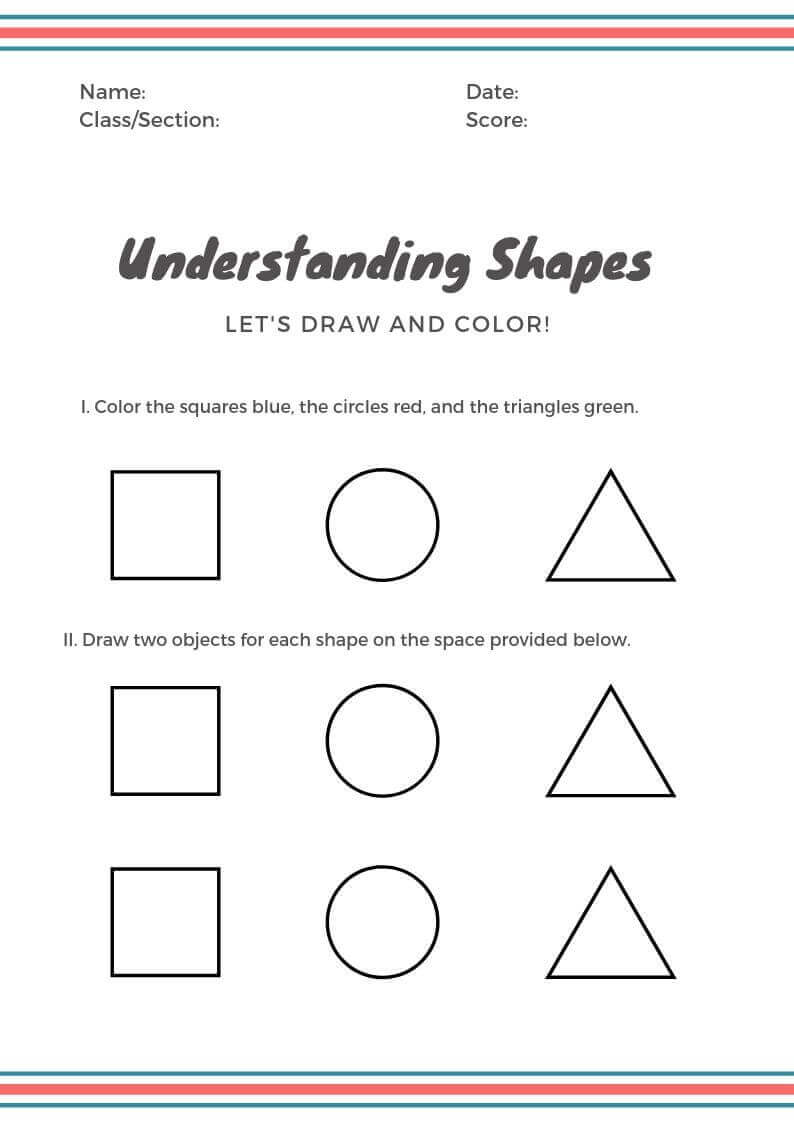Shape Worksheet For Kindergarteners