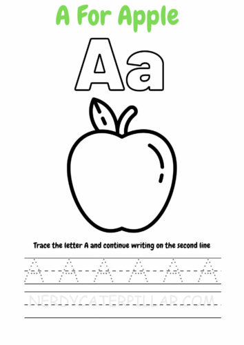 A for Apple worksheet for kids