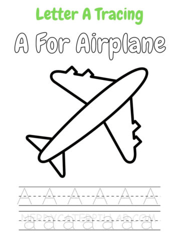 A for airplane worksheet for kids