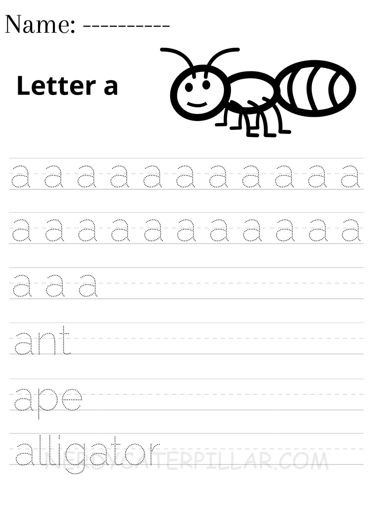 Alphabet A worksheets