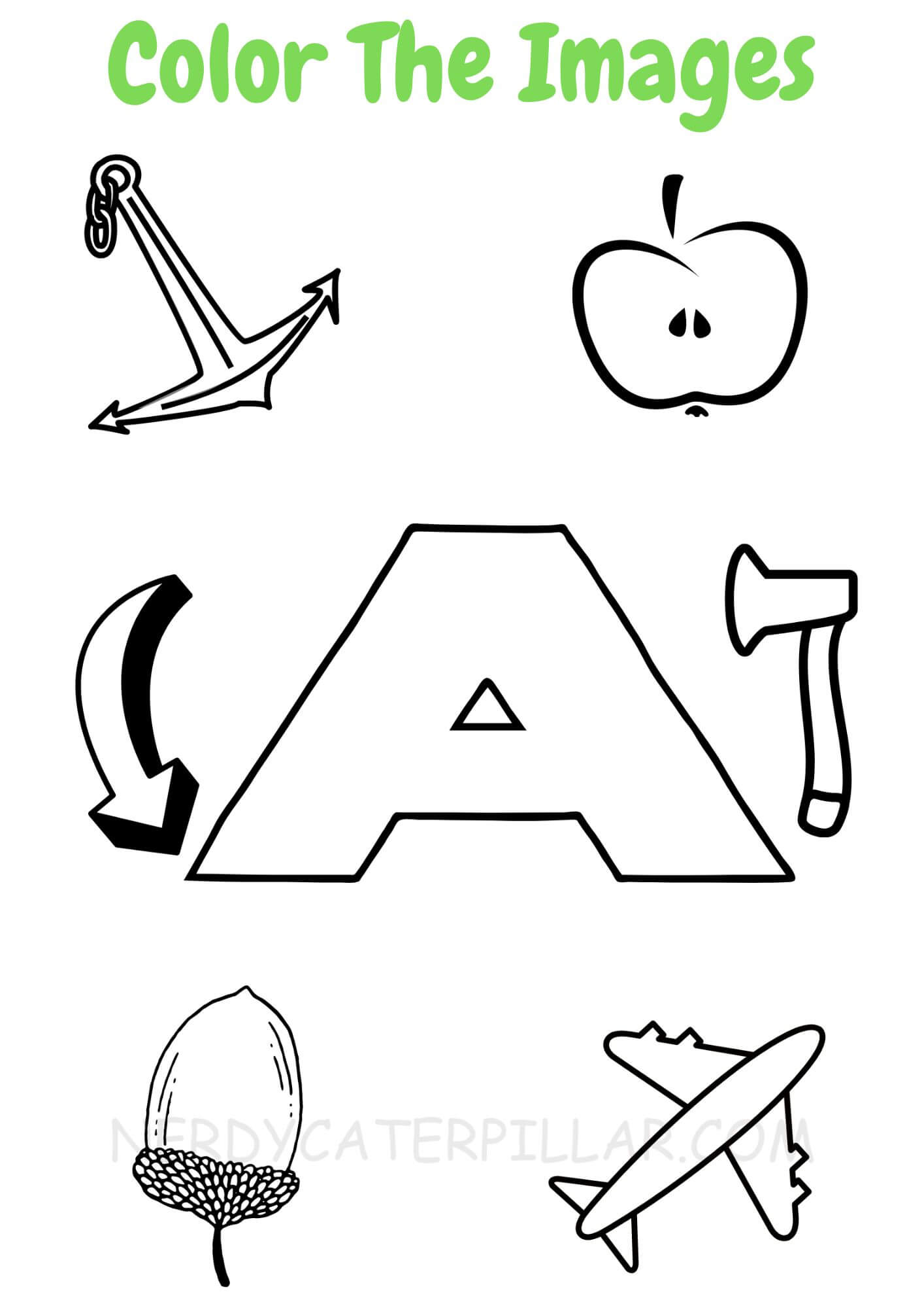 Color The Images Starting With Letter A