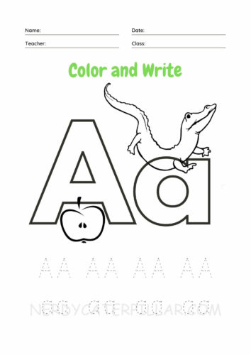 Color and Write Letter A worksheet