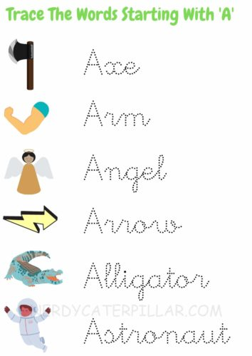 Free printable letter A worksheets