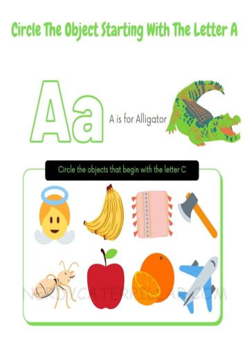 Letter A worksheet for kids