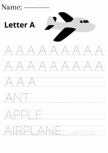 Letter A worksheet for preschoolers