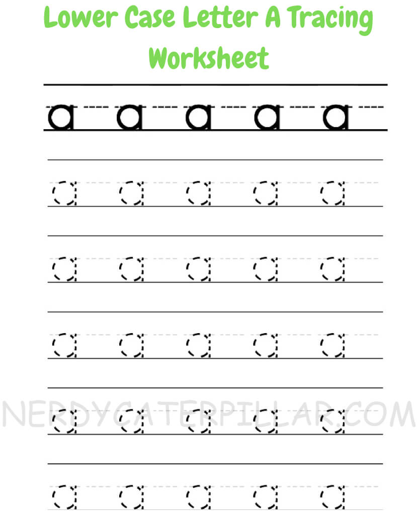 Lower case a tracing worksheet for kids