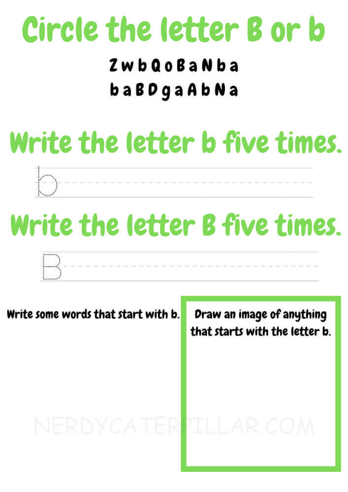 Circle and Write Letter B worksheet