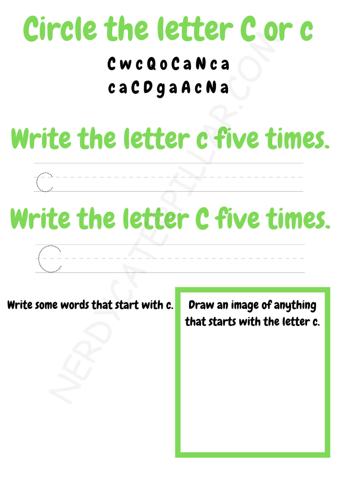 Circle the letter C