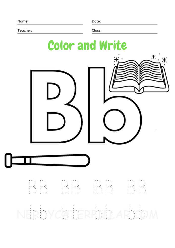 Color and Write Letter B