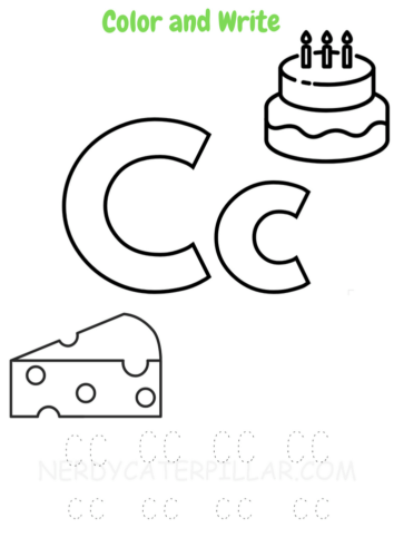 Color and write alphabet C worksheet