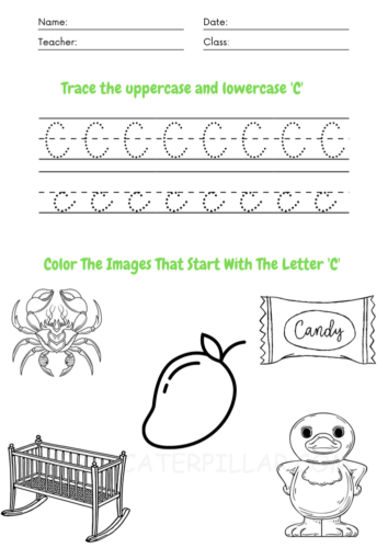 Color the images starting with the letter c