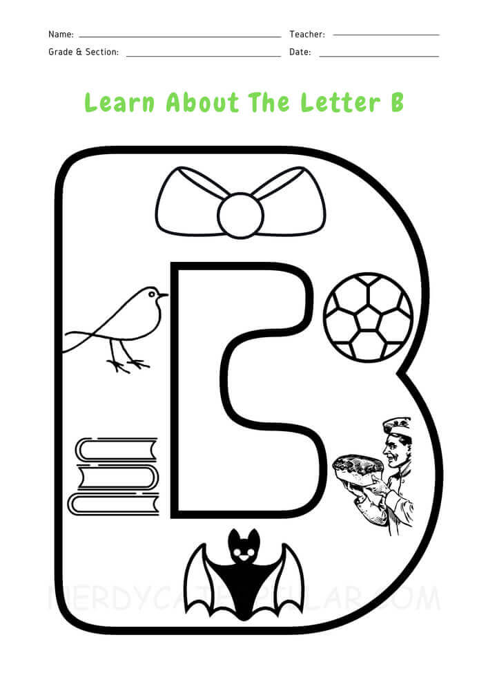 Letter B worksheet for kids