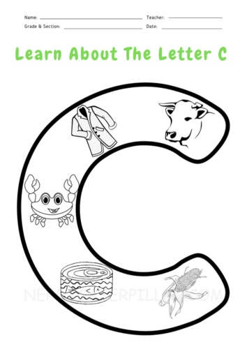 Letter C worksheet for kids