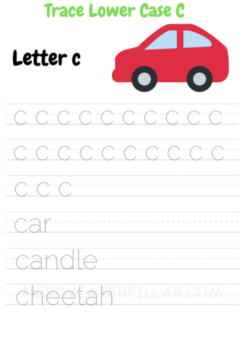 Lowercase C tracing worksheet