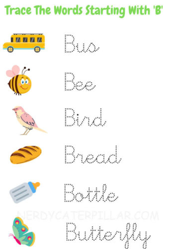 Trace the Words Starting with Letter B