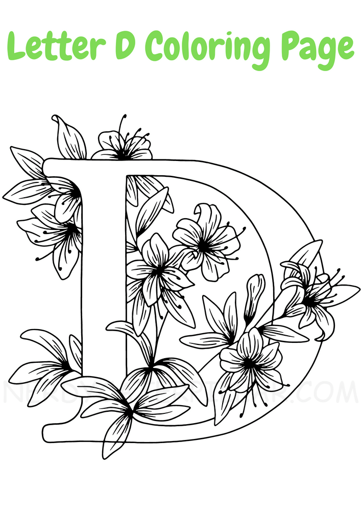 Letter D coloring page for kids