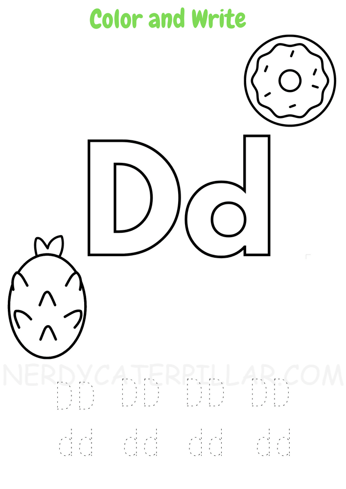 Letter D worksheet for preschoolers